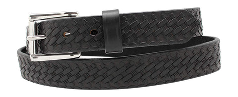 "Heavy Duty Work Belt -1 1/4"" Basketweave Embossed Leather Belt 100% Full Grain Leather"