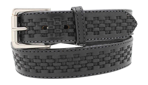 "1 1/2"" Men's Basketweave Oiled & Waxed Embossed Work Belt"