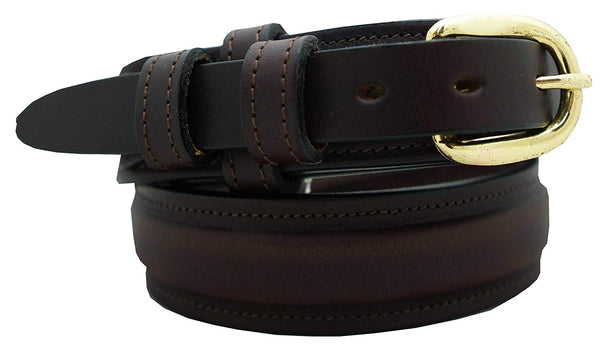 "Men's Ranger Dress Belt - 1 1/4"" English Bridle Leather Raised Dress Belt"