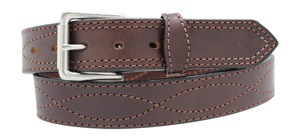 "Men's Harness Leather Work Belt - 1 1/2"" w/Decorative Figure 8 Stitching"