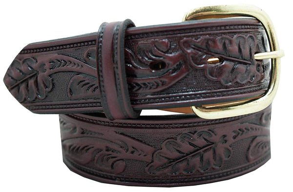 "Men's Casual Belt - 1 1/2"" Oak Leaf Embossed Classic Western Style Belt"