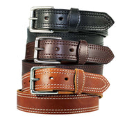 "1 1/2"" Double Stitched Men's Harness Leather Work Belt - YourTack"