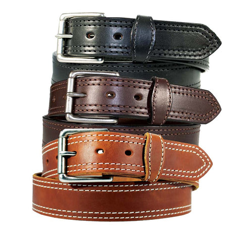 "Men's Harness Leather Work Belt - 1 1/2"" Double Stitched"