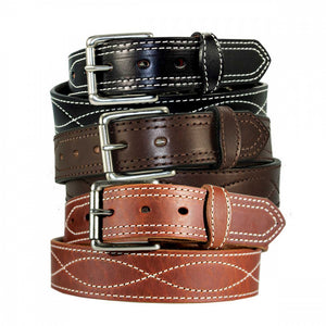 "1 1/2"" Decorative Figure 8 Stitching Men's Harness Leather Work Belt"