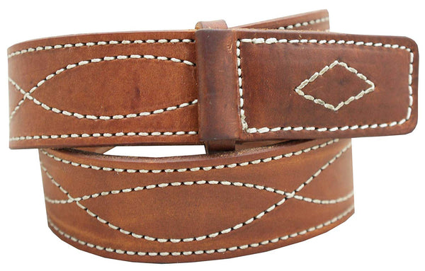 "Men's Mechanics Style Oiled & Waxed Leather Belt - 1 1/2"" w/Figure 8 Stitching"