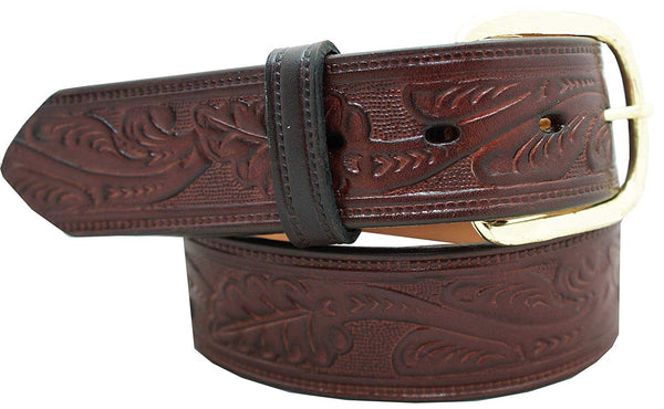 "1 1/2"" Oak Leaf Embossed Classic Western Casual Belt"