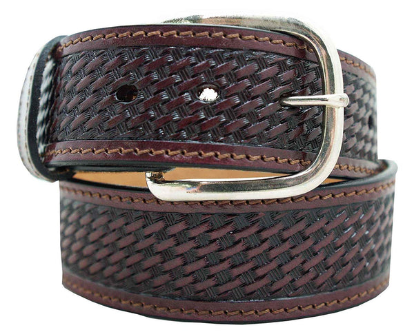 "1 1/2"" Cowboy Collection Basketweave Decorative Stitching Belt"