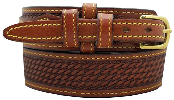 "Men's Ranger Belt 1 1/2"" English Bridle Leather Basketweave Embossed"