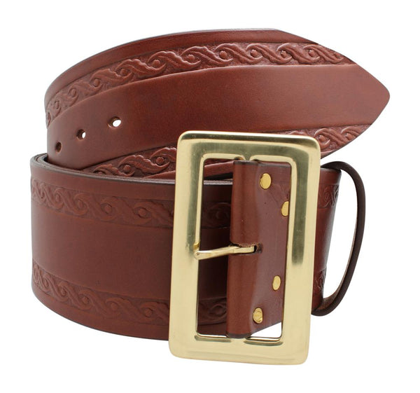 Santa Belt Leather with Design 3""
