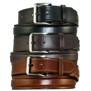 "Men's Dress Belt - 1 1/2"" English Bridle Leather Raised Dress Belt."