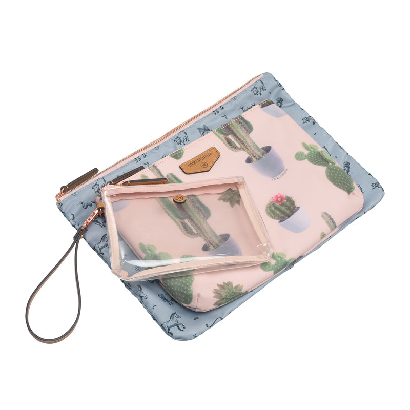 Trio Pouch in Leaf Print 2.0