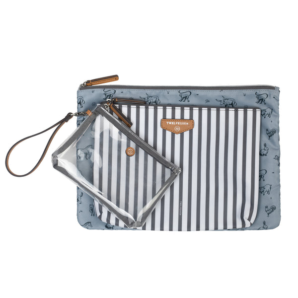 Trio Pouch in Stripe Print 2.0