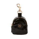 Little Pouch Charm in Black Croc
