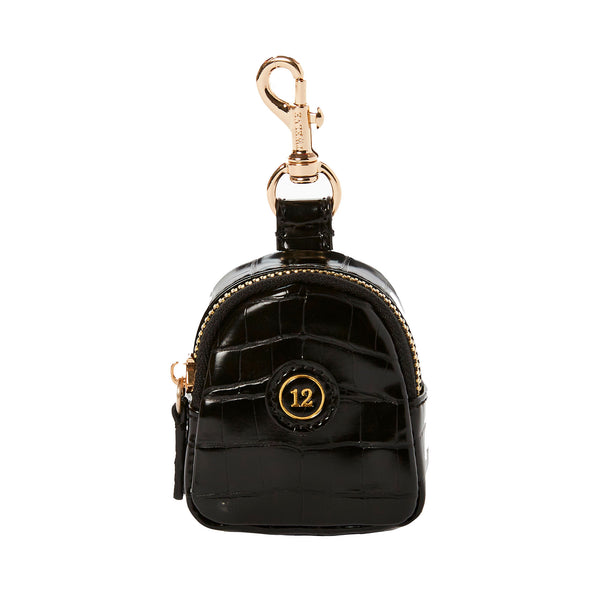Little Pouch Charm in Black Croc (Excluded From Sale)