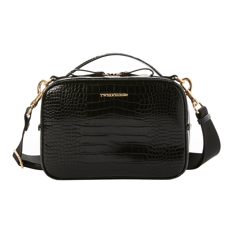 Luxe Diaper Clutch in Black Croc (Excluded From Sale)