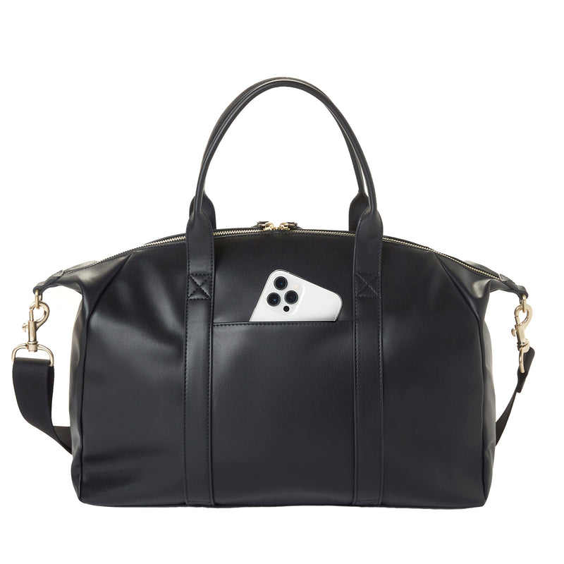 Peek-A-Boo Vegan Leather Satchel in Black