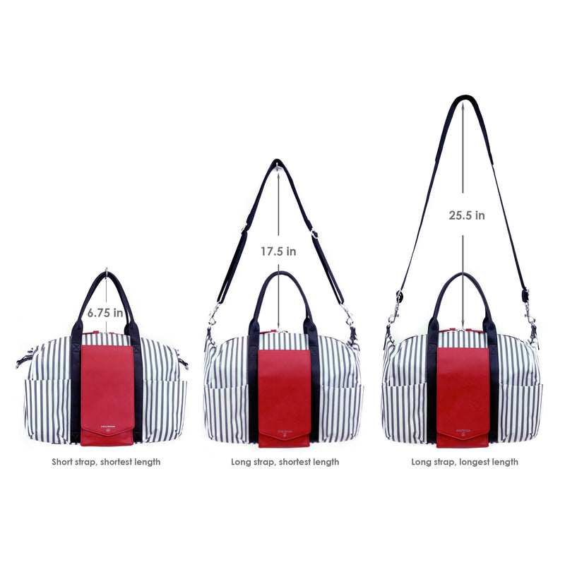 Peek-A-Boo Satchel in Stripe/Red