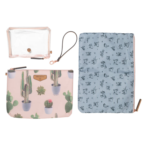Trio Pouch in Cactus Print 2.0 - TWELVElittle | Diaper Bags, Backpacks Diaper Bags, Diaper Bag Totes & Kids Fashion - Men, Women & Unisex