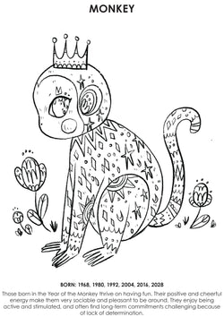 12Little Downloadable Animal Coloring Book - Monkey
