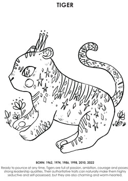 12Little Downloadable Animal Coloring Book - Tiger