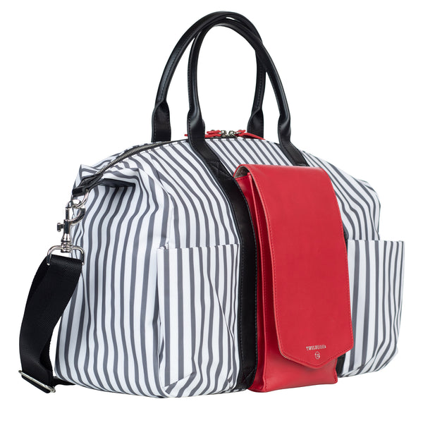 Peek-A-Boo Satchel in Stripe/Red | TWELVElittle Mens, Womens & Unisex Crossbody satchel diaper bags