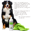 picture of a Bernese Mountain dog standing next to a bottle of Eco Dog Care's Simply Clean Classic Shampoo and a bright green towel. The text is a positive review from a customer and her groomer.