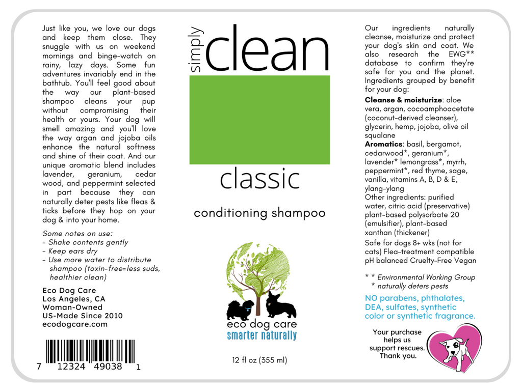 conditioning shampoo full label for Clean Classic