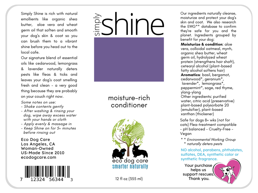 Simply Shine Moisture Rich Conditioner freeshipping - eco dog care