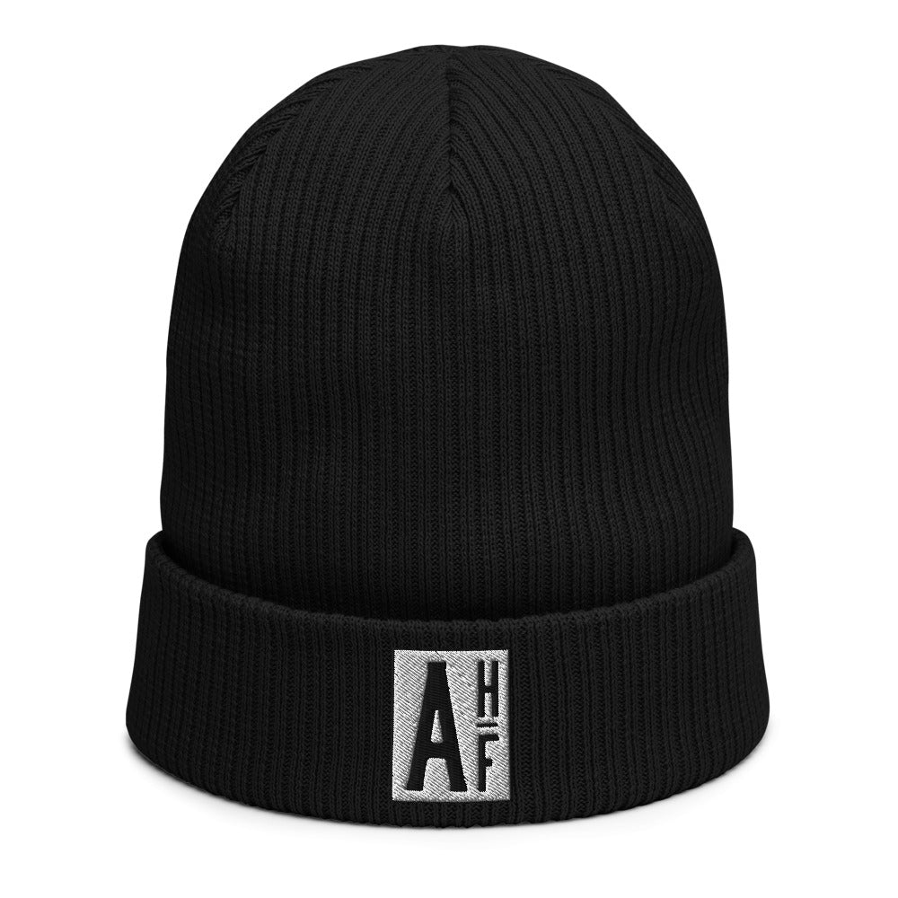 The Ascension High Fashion Street Logos Line Organic Ribbed Beanie Beechfield