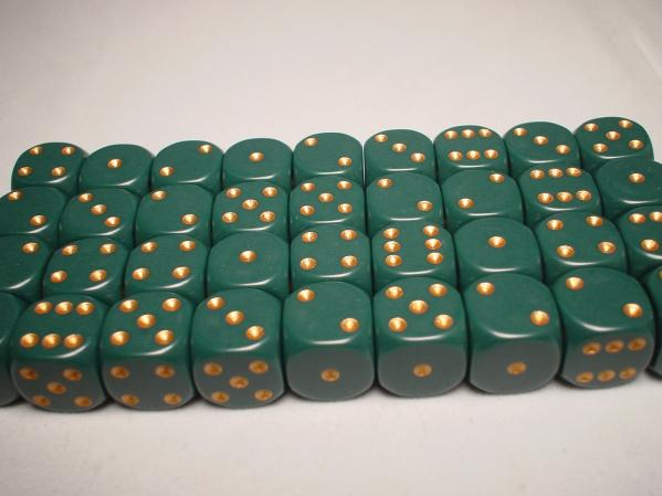Chessex: Opaque 12mm Dusty Green/Gold (36)