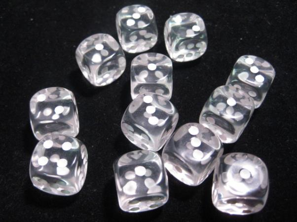Chessex: Translucent 16mm Clear/White (12)