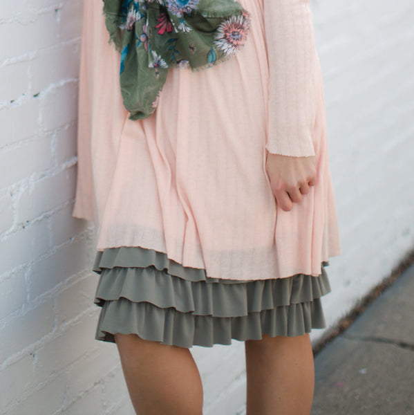 Bring on the Frill Layering Skirt | PLUS | moss
