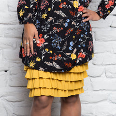 Bring on the Frill Layering Skirt | mustard