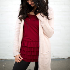 Bring on the Frill Layering Skirt | burgundy