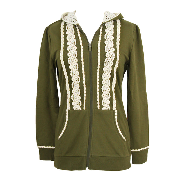 Boho Zip Up Hoodie Jacket | Olive