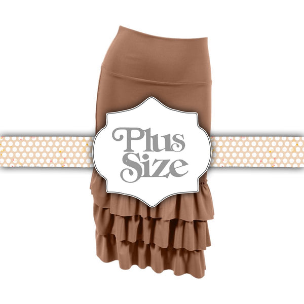 Bring on the Frill Layering Skirt | PLUS | camel