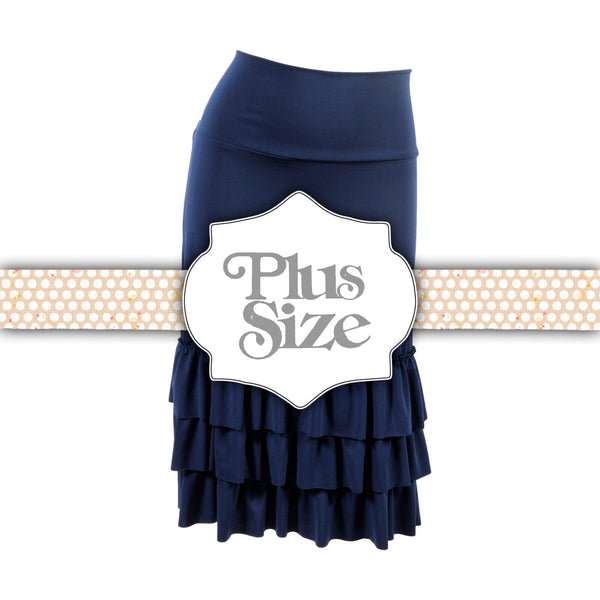 Bring on the Frill Layering Skirt | PLUS | navy