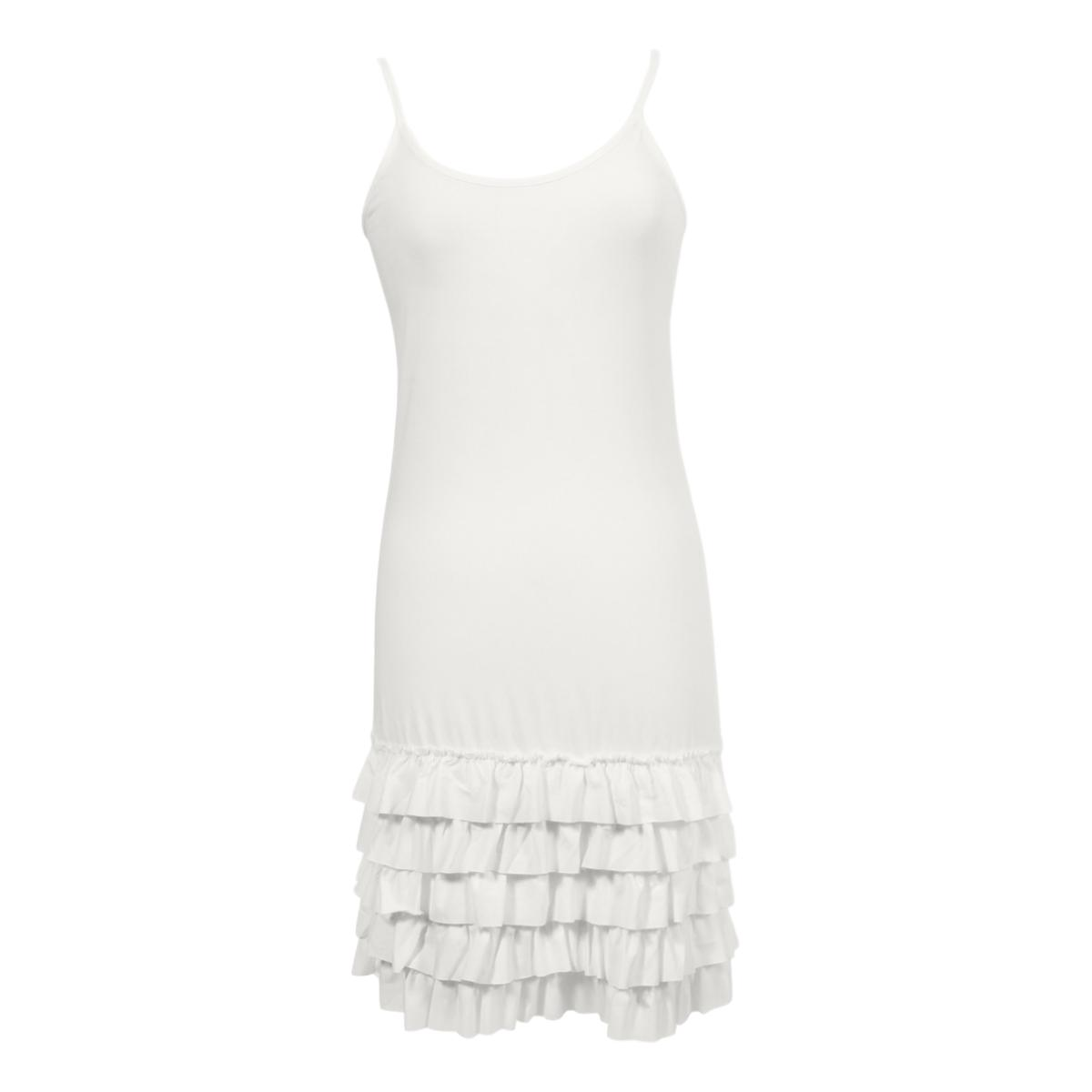 Delicious Frilly Strap Slip Dress | white, strap slips & dresses, Peekaboo Chic | Modest Layering Apparel for women