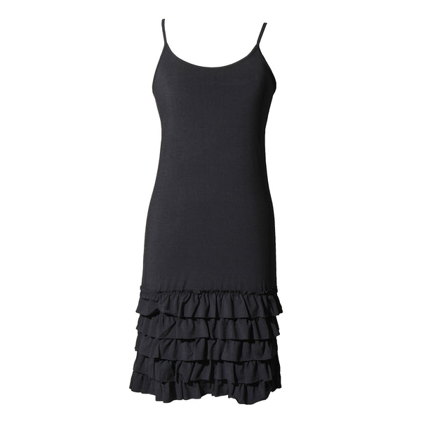 Delicious Frilly Strap Slip Dress | black