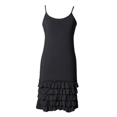 Black delicious frilly straps slip dress
