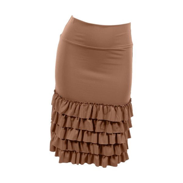 Bring on the Frill Layering Skirt | camel