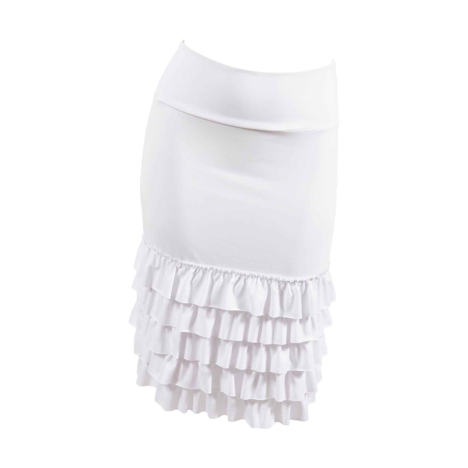 Bring on the Frill Layering Skirt | bleach white