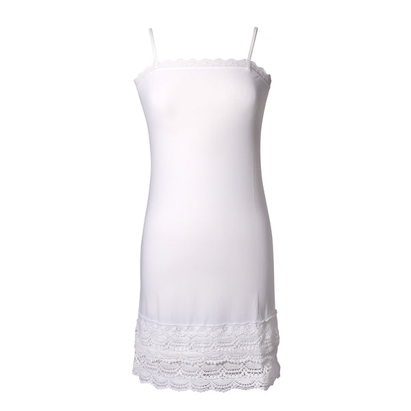 Snap Dragon Crochet Trim Strap Slip Dress Extender | White