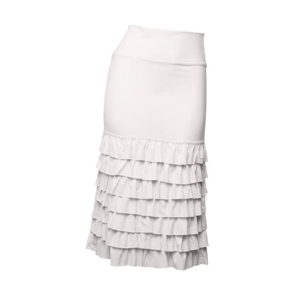 Bring on the Frill Half Slip | ultra long | bleach white