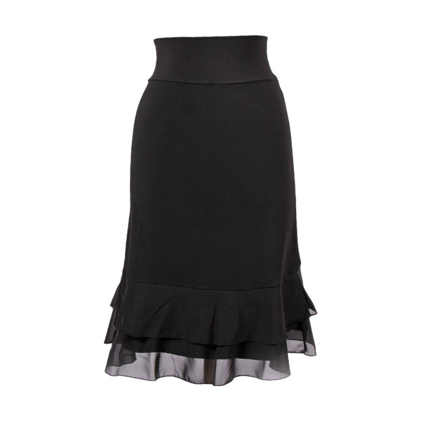 Iris Chiffon Layering Skirt | black