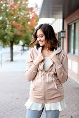 Boho Zip Up Hoodie | Camel, outerwear, Peekaboo Chic | Modest Layering Apparel for women