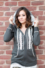 Boho Zip Up Hoodie | Charcoal, outerwear, Peekaboo Chic | Modest Layering Apparel for women