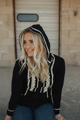 Boho Zip Up Hoodie | Black, outerwear, Peekaboo Chic | Modest Layering Apparel for women