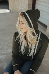 Boho Zip Up Hoodie | Olive, outerwear, Peekaboo Chic | Modest Layering Apparel for women