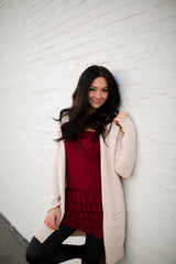 bring on the frill half slip skirt extender, five layers of ruffles, burgundy, modest layering